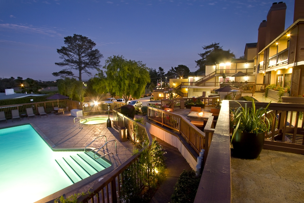 Relax in the heated pool, hot tub, or by the fire on the patio (or in your room) at the Mariposa Inn & Suites